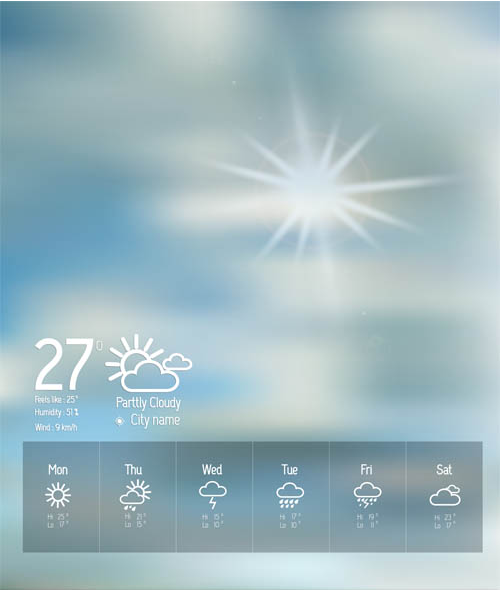 Weather Wigets Backgrounds vectors