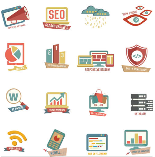 Web Different Icons vectors material