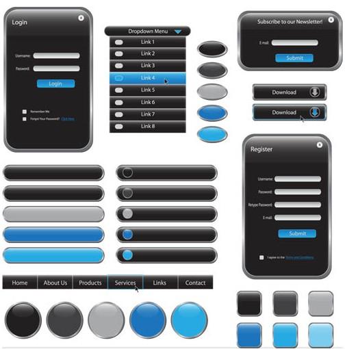 Web Grey Elements vector
