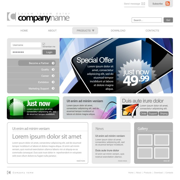 Web template design 2 vector