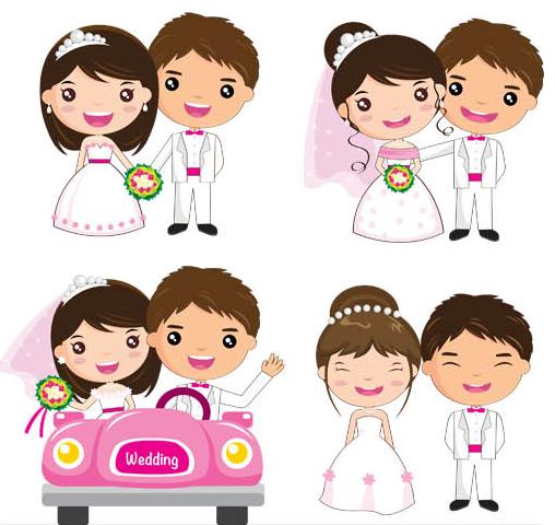 Wedding Cartoon Couples vector