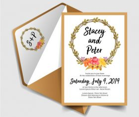 Wedding invitation card elegant design vector 09