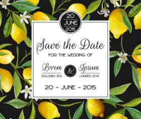 Wedding invitation card with lemon vector