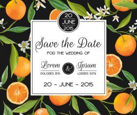 Wedding invitation card with orange vector