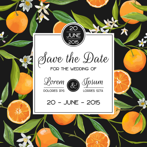 Wedding invitation card with orange vector