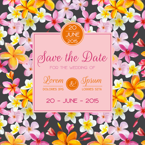 Wedding invitation card with tropical flower vector