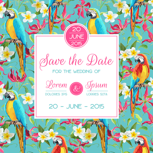 Wedding invitation card with tropical parrot vector