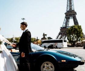 Wedding photos under the Eiffel Tower Stock Photo