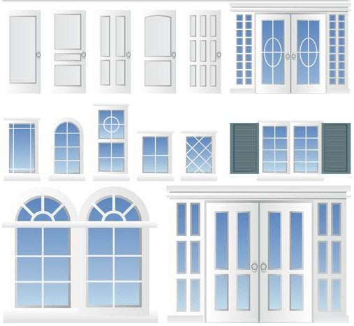 White Windows and Doors Vector graphic