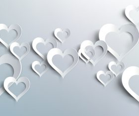 White heart valentine background illustration vector 01