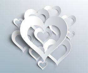 White heart valentine background illustration vector 02
