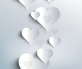 White heart valentine background illustration vector 04