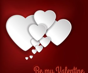White heart with red valentine card vector