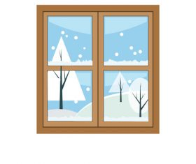 Window outside snow scene hand drawn vector