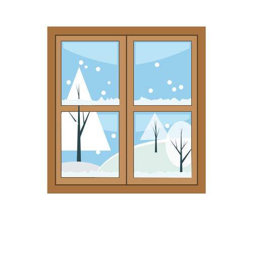 Window outside snow scene hand drawn vector