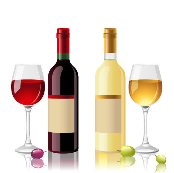 Wine Bottle and Wineglass 1 vector