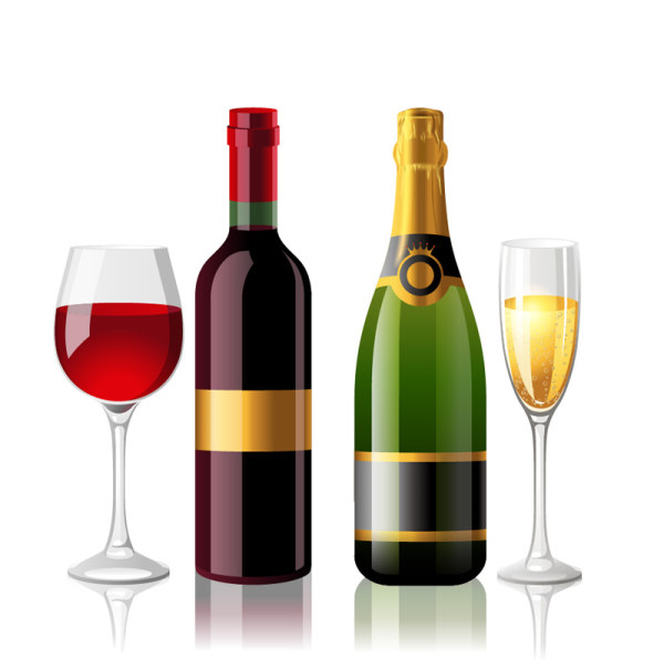 Wine Bottle and Wineglass 5 vector graphic