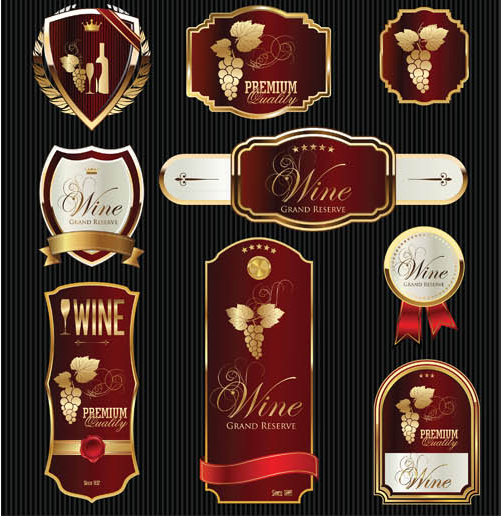 Wine Labels Set vectors graphic