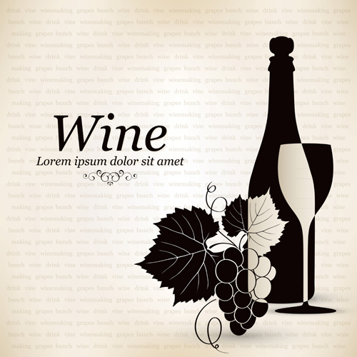 Wine vintage background 3 design vectors