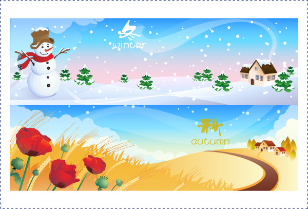 Winter and autumn banner vector