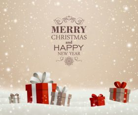 Winter christmas gift card template vectors 05