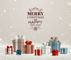 Winter christmas gift card template vectors 11
