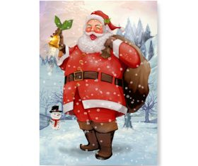 Winter christmas wiht cute santa claus vectors 02