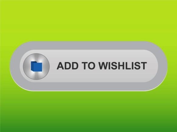 Wish List Button shiny vector