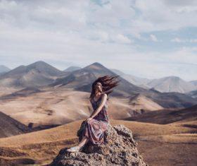 Woman desert photo pose Stock Photo
