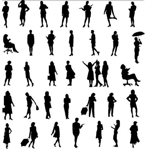 Women Silhouettes art design vectors