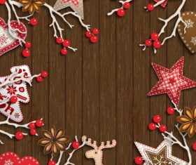 Wood wall with christmas bauble frame vectors