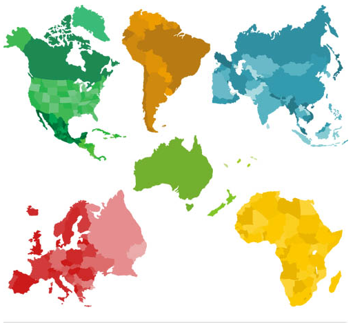 World Color Maps vector