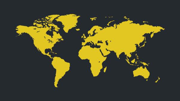 World Map yellow vector