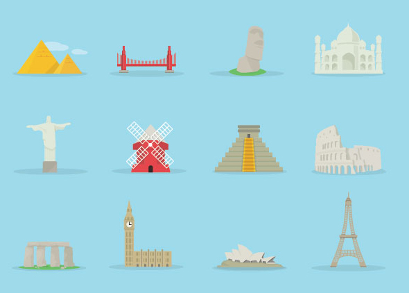 World famous buildings vector