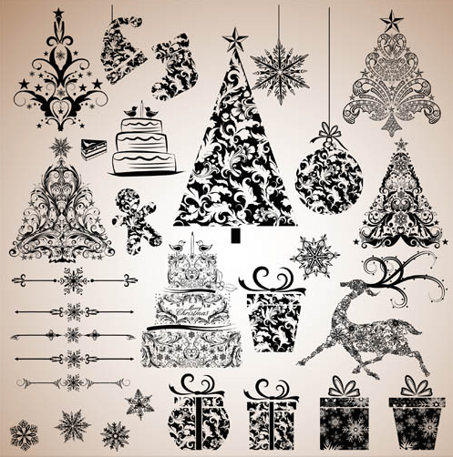 X mas Vintage Elements set vector