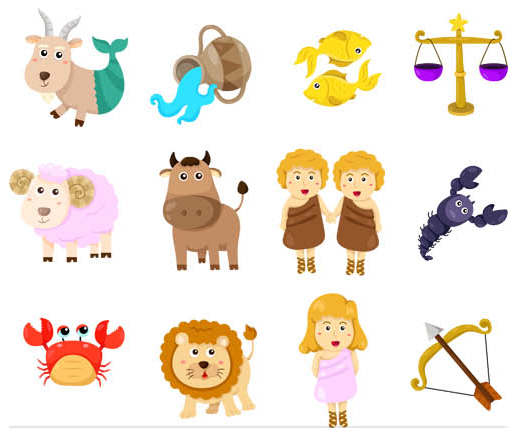 Zodiac Cartoon Symbols vector