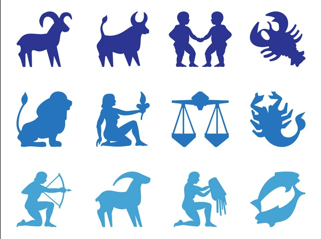 Zodiac Signs Silhouettes shiny vector