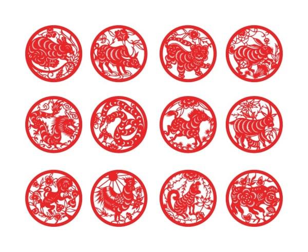 Zodiac paper cut vector set