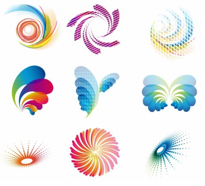 abstract wave icons vector graphics