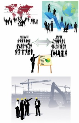 all kinds business people silhouette vector
