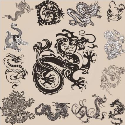 all kinds dragon element patterns vector design