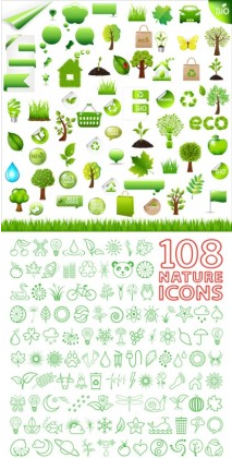and environmental protection green vector set