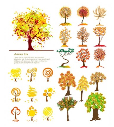 Autumn trees design vector illustration