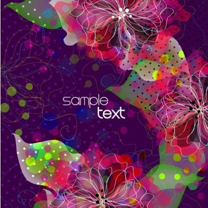 background floral fantasy 05 vector