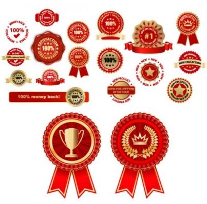 badge medal set vector