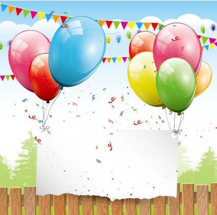 balloon card 04 vector