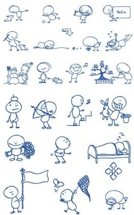 ballpoint pen drawing cartoon clip 2 set vector