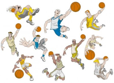 basketball cartoon characters vector material