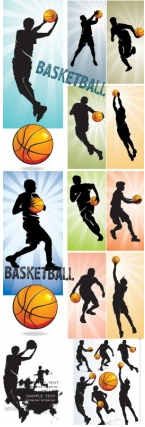 basketball silhouette character vectors