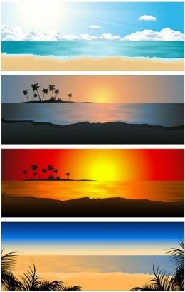 beautiful coastal scenery 02 vectors graphics